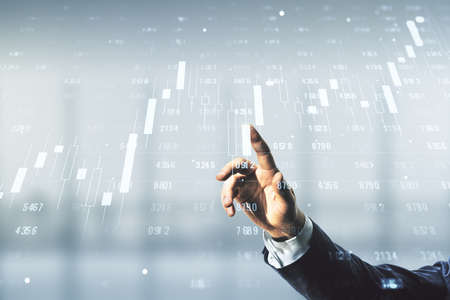 Photo pour Man hand clicks on abstract virtual analytics data spreadsheet on blurred office background, analytics and analysis concept. Multiexposure - image libre de droit