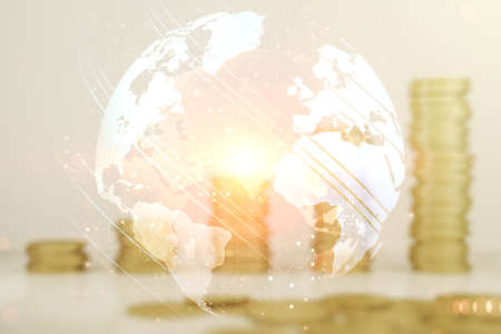 Photo pour Double exposure of abstract digital world map hologram on growing coins stacks background, big data and blockchain concept - image libre de droit