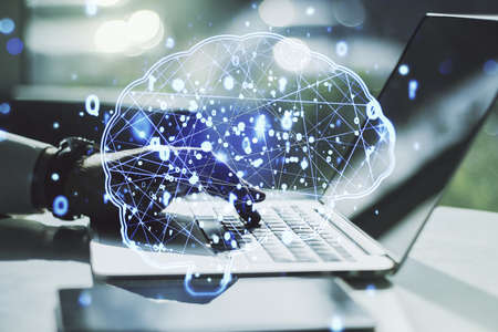 Photo for Creative artificial Intelligence concept with human brain sketch and hands typing on computer keyboard on background. Double exposure - Royalty Free Image