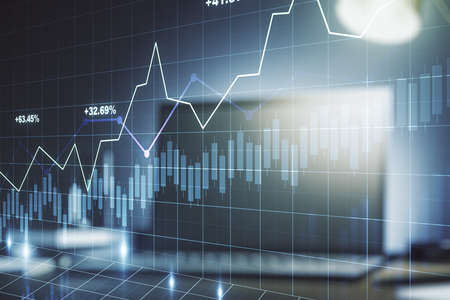 Foto de Abstract creative financial graph on modern laptop background, financial and trading concept. Multiexposure - Imagen libre de derechos