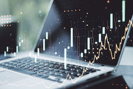 Photo pour Double exposure of abstract creative financial chart on modern laptop background, research and strategy concept - image libre de droit