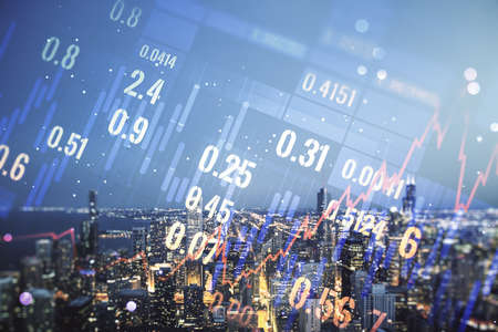 Photo pour Multi exposure of abstract virtual financial graph hologram on Chicago skyline background, forex and investment concept - image libre de droit