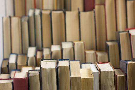 Photo pour Stack of books background. many books piles. - image libre de droit