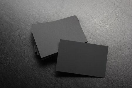 Photo pour Business cards blank. Mockup on color background. Flat Lay. copy space for text. - image libre de droit
