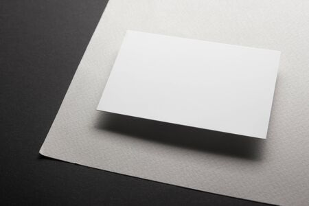 Photo for Business cards blank. Mockup on color background. Flat Lay. copy space for text. - Royalty Free Image