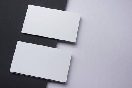 Photo pour Business cards Mockup on color background. Flat Lay. copy space for text. - image libre de droit