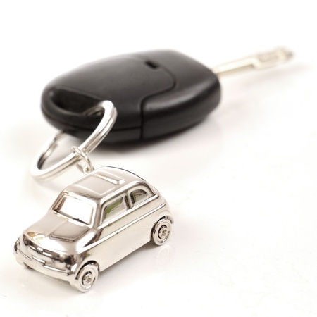 Key car with little key ring in car's shape