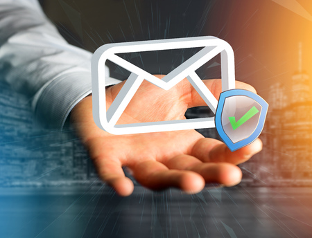 View of a Approved and verified Email symbol displayed on a futuristic interface - Message and internet concept