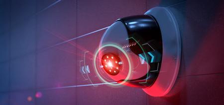 Photo pour View of a Security camera targeting a detected intrusion - 3d rendering - image libre de droit