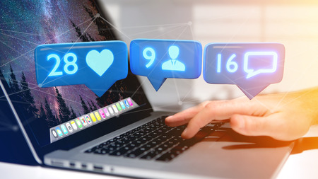 Photo pour View of a Businessman holding a Like, Follower and message notification on social network - 3d render - image libre de droit