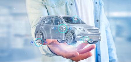 Photo pour View of a Man holding a Smartcar with checkings 3d rendering - image libre de droit