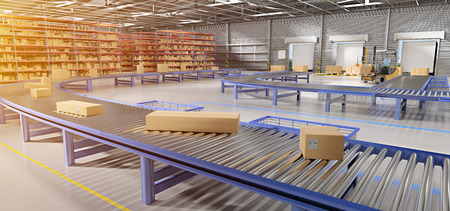 Photo for View of a Warehouse goods stock background 3d rendering - Royalty Free Image