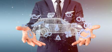 Photo pour View of a Man holding  Smartcar icon around an automobile 3d rendering - image libre de droit