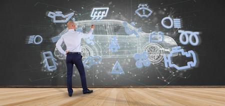 Foto de View of a Man holding a smartcar concept 3d rendering - Imagen libre de derechos