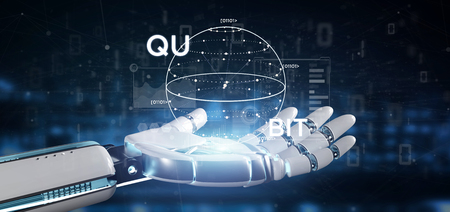Photo pour View of Cyborg hand holding Quantum computing concept with qubit icon 3d rendering - image libre de droit