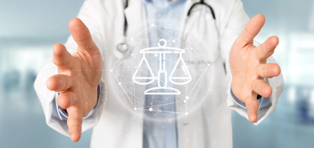Photo pour View of Doctor holding Cloud of justice and law icon bubble with data 3d rendering - image libre de droit