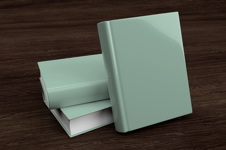 Photo for Mock up view of a stack of book on a wood - Royalty Free Image