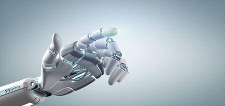 Foto de View of a Cyborg robot hand on an uniform  background 3d rendering - Imagen libre de derechos