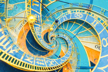 Foto de Droste effect background based on Prague astronimical clock. Abstract design for concepts related to astrology, fantasy, time and magic. - Imagen libre de derechos