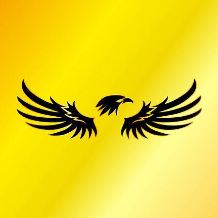 Black Eagle with Gold Background, Vector, Illustration