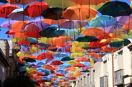 Street decorated with colored umbrellas Madrid,Getafe, Spain