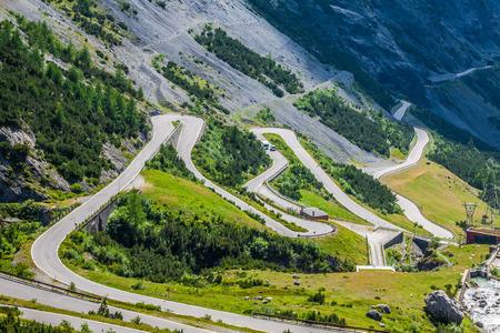 serpentine mountain road in Italian Alps, Stelvio pass, Passo dello Stelvio, Stelvio Natural Park