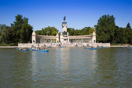 Monument to Alfonso XII in the Parque del Buen Retiro Park of the Pleasant Retreat in Madrid, Spain