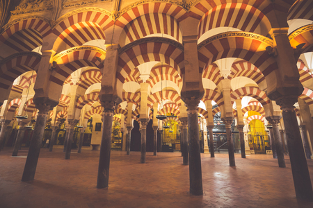 La Mezquita Cathedral in Cordoba, Spain. The cathedral was built inside of the former Great Mosque.