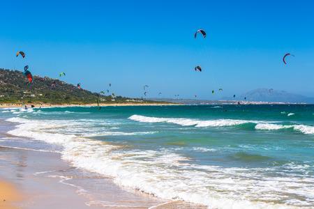 kites flying over Tarifa beach