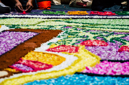 Preparation of floral carpets in the Holy Week or Easter Week in Lima - Peru