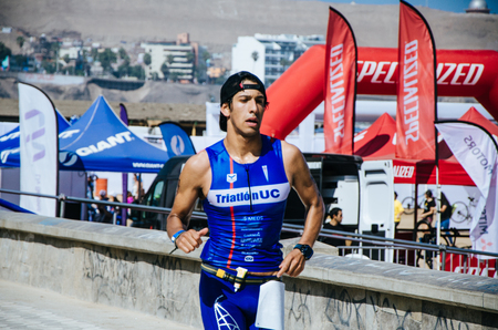 LIMA, PERU - APRIL 22th 2018: Ironman 70.3. And finally athletes entering the last level of this great competition that is the running race