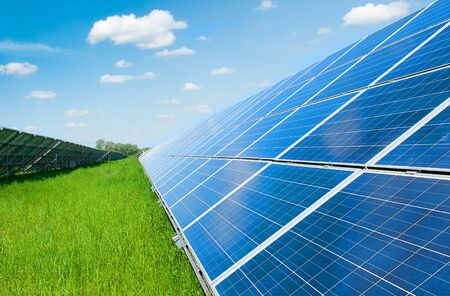 Photo for Solar panels and blue sky. Solar panels system power generators from sun. Clean technology for better future - Royalty Free Image