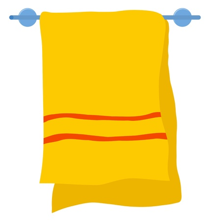 Hotel towel on a hanger on white