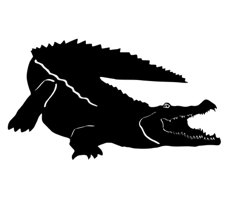 an illustration of black silhouette of crocodile