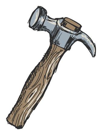 sketch, doodle, hand drawn illustration of hammer