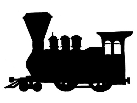 black silhouette of vintage steam train