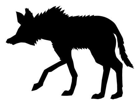 Illustration pour A silhouette of maned wolf, side view - image libre de droit
