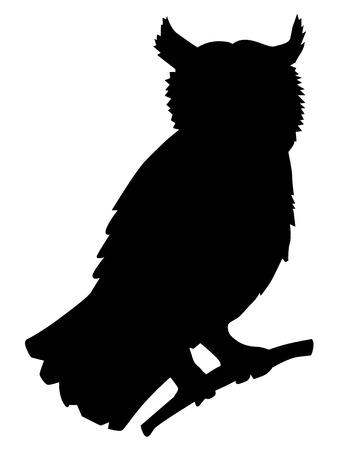 Illustration pour Owl, silhouette of forest, animals, wildlife - image libre de droit