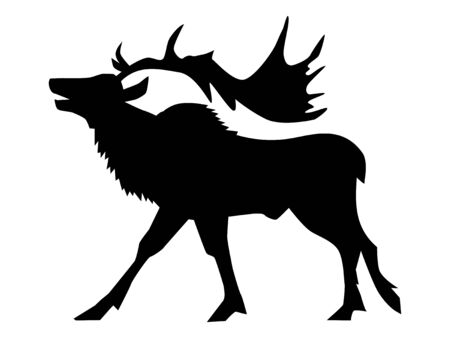 Illustration pour Vector silhouette of caribou or reindeer. Side view. Motives of season, Christmas, north pole, holidays, Santa Claus - image libre de droit