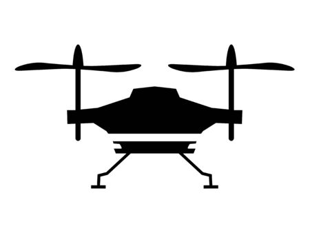 Illustration for Vector black silhouette of quadcopter drone on white. Side view. Motives of videography, transport, flying, air vehicle, techno, gadgets, objects of modern technology, photography caught from air - Royalty Free Image