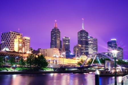 Night Urban City Skyline  Melbourne  Australia