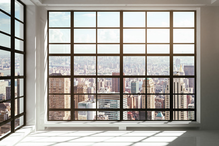 Photo for Floor-to-ceiling windows with city view - Royalty Free Image