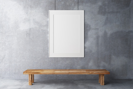 Photo pour Blank frame in the gallery on a concrete wall - image libre de droit