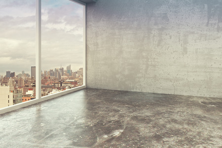 Photo pour Empty loft interior room with concrete walls, floor and city view - image libre de droit