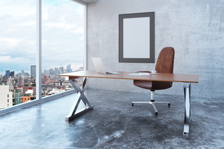 Photo pour Blank picture frame in loft office with city view, modern furniture and concrete wall and floor, mock up - image libre de droit