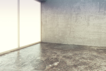 Photo pour Empty loft style room with concrete floor and wall - image libre de droit