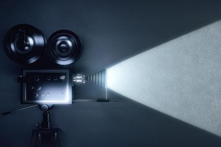 Vintage camera making a film in the dark room