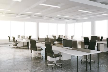 Photo pour Open space loft office with furniture and big windows - image libre de droit