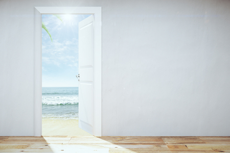 Opened door to a heaven with beach and ocean view