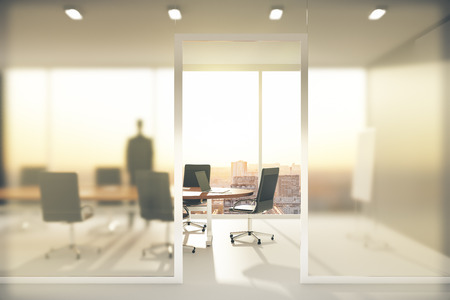 Photo pour Meeting room with frosted glass walls - image libre de droit